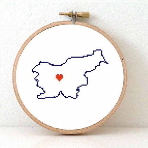 Slovenia cross stitch pattern map