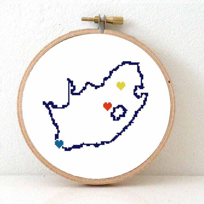 South Africa map cross stitch pattern