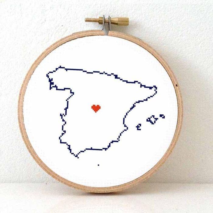 Spain map cross stitch pattern