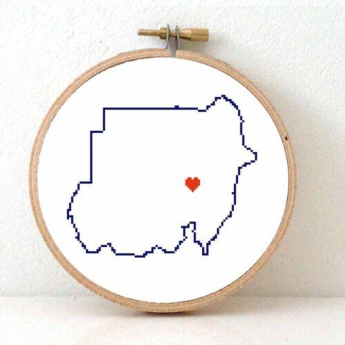 Sudan map cross stitch pattern