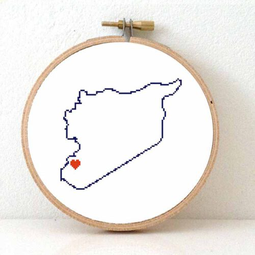 Syria map cross stitch pattern