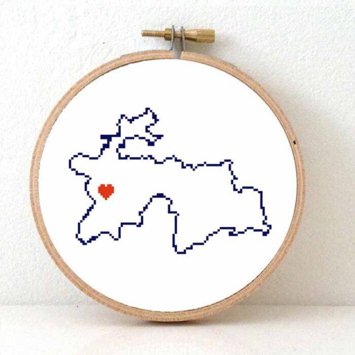 Tajikistan map cross stitch pattern
