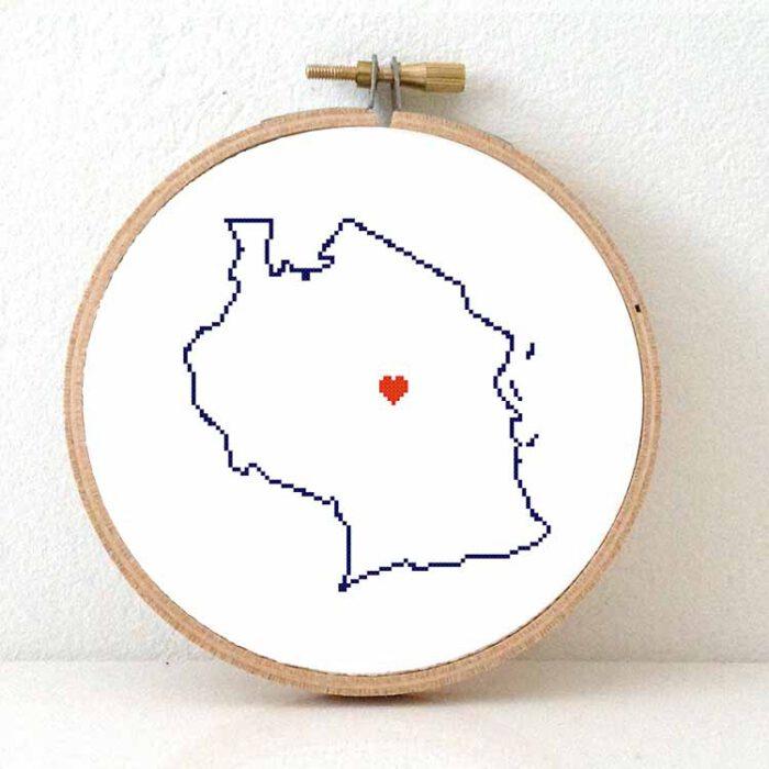 Tanzania map cross stitch pattern