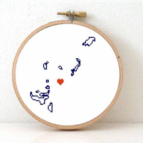 Tonga map cross stitch pattern