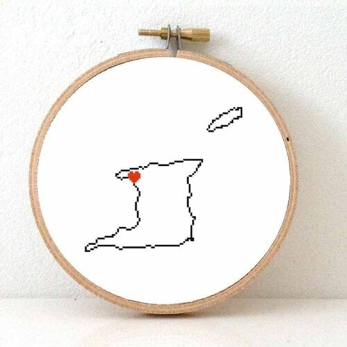 Trinidad and tobago map cross stitch pattern