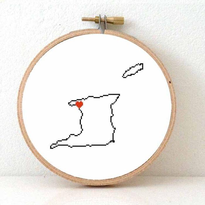 Trinidad and tobago map cross stitch pattern