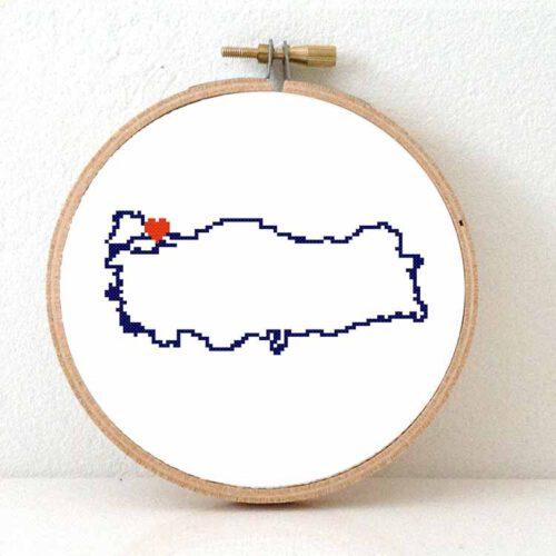 Turkey map cross stitch pattern