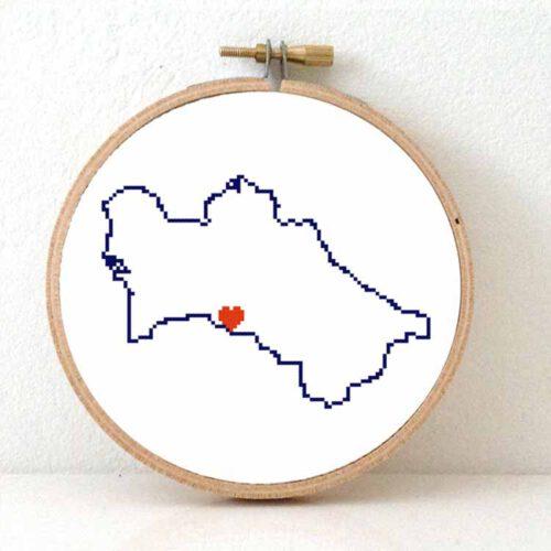 Turkmenistan map cross stitch pattern