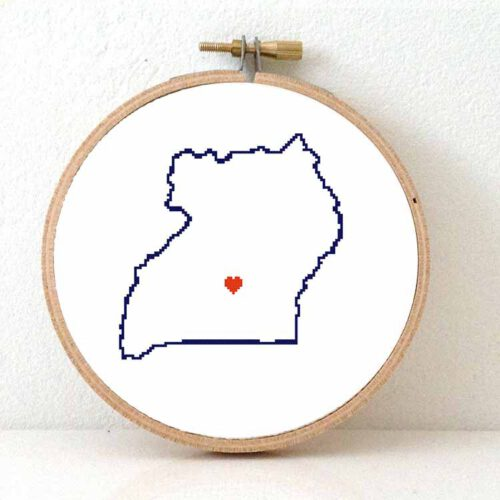 Uganda map cross stitch pattern
