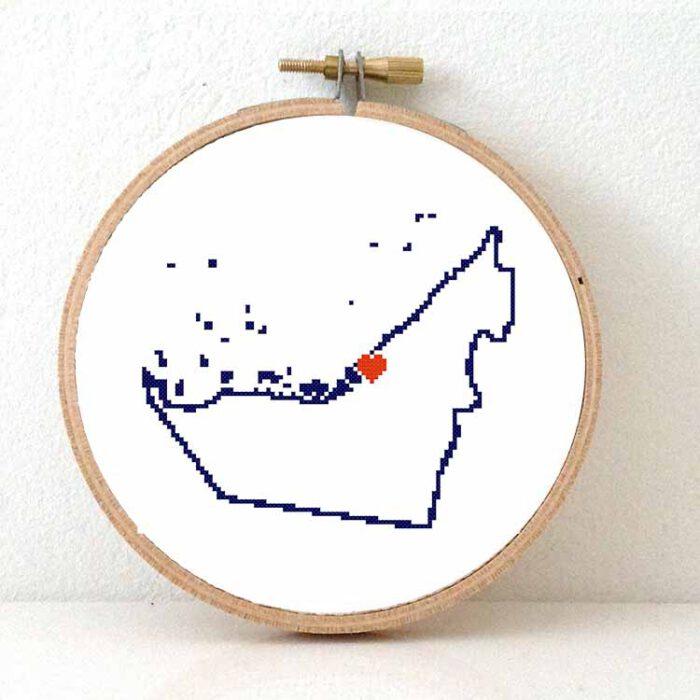 United Arab Emirates map cross stitch pattern