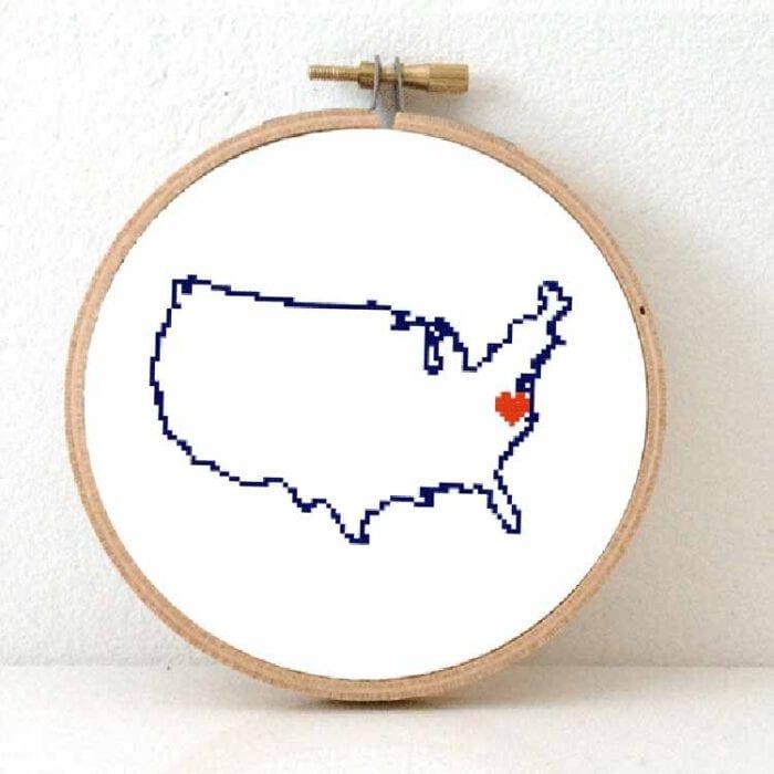 stitchamap - cross stitch pattern usa map with heart for Washington