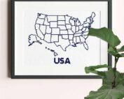 USA xl map cross stitch pattern stitch as you travel