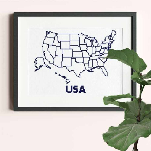 USA xl map cross stitch pattern stitch as you travel