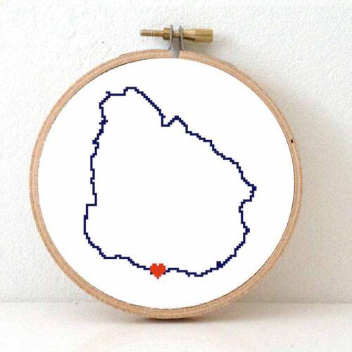 Uruguay map cross stitch pattern