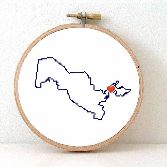 Uzbekistan map cross stitch pattern
