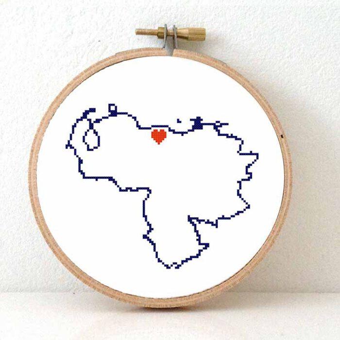 Venezuela map cross stitch pattern