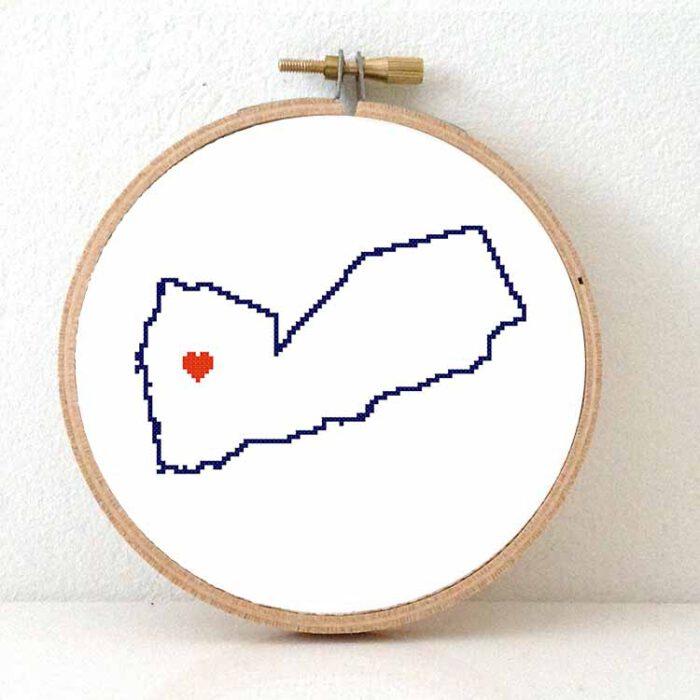 Yemen map cross stitch pattern