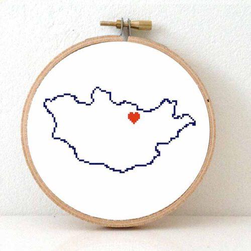 Mongolia map cross stitch pattern