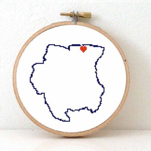 Suriname map cross stitch pattern