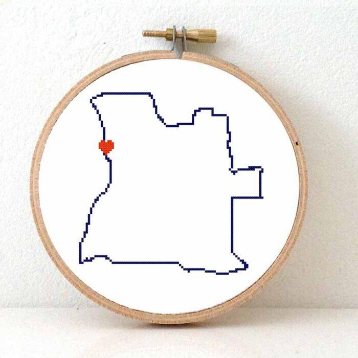 Angola map cross stitch pattern
