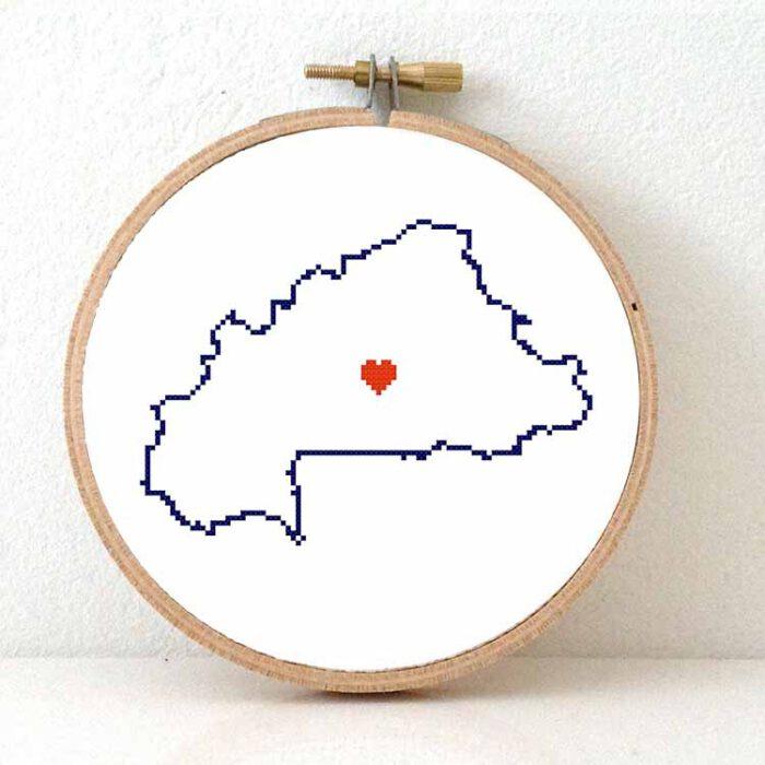 Burkina Faso map cross stitch pattern