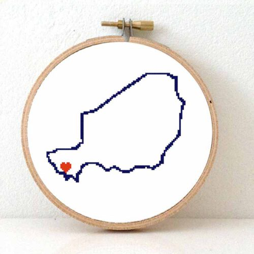 Niger map cross stitch pattern