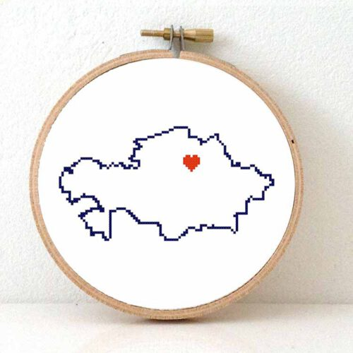 Kazakhstan map cross stitch pattern
