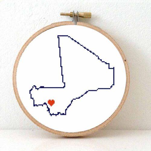 Mali map cross stitch pattern
