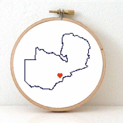 Zambia map cross stitch pattern