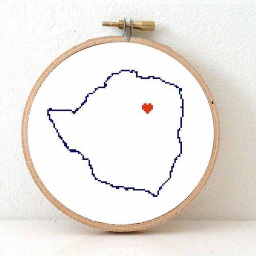Zimbabwe map cross stitch pattern