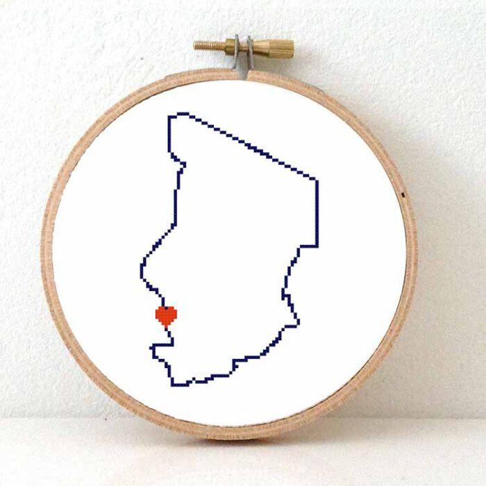 Chad map cross stitch pattern