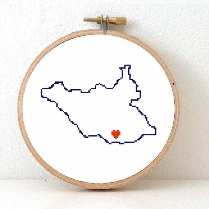 South Sudan map cross stitch pattern