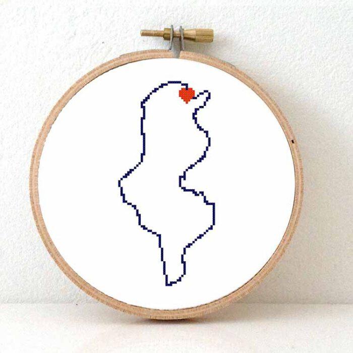 Tunisia map cross stitch pattern