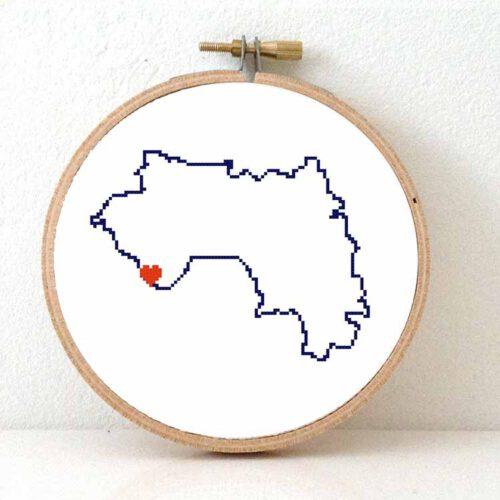 Guinea map cross stitch pattern