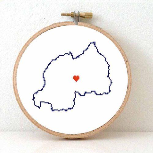 Rwanda map cross stitch pattern