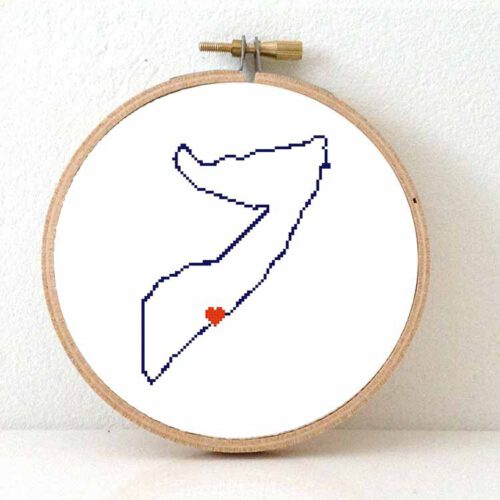 Somalia map cross stitch pattern