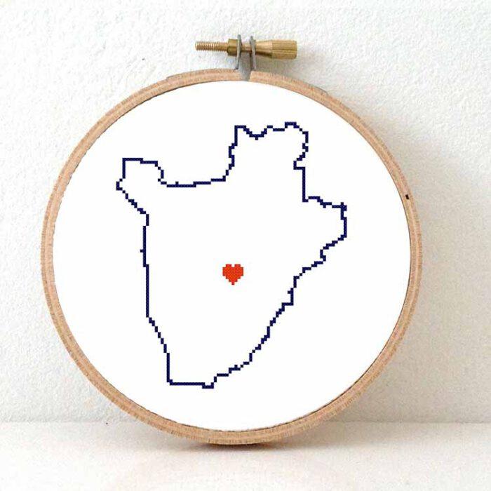 Burundi map cross stitch pattern