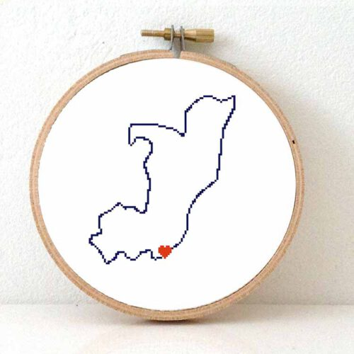 Republic of the Congo map cross stitch pattern