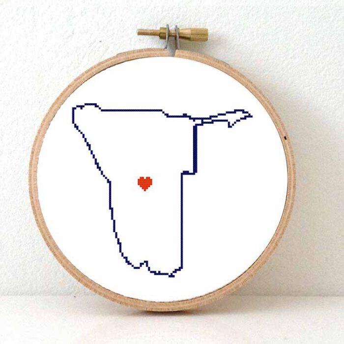 Namibia map cross stitch pattern