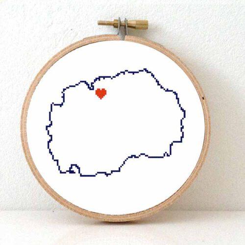 North Macedonia map cross stitch pattern