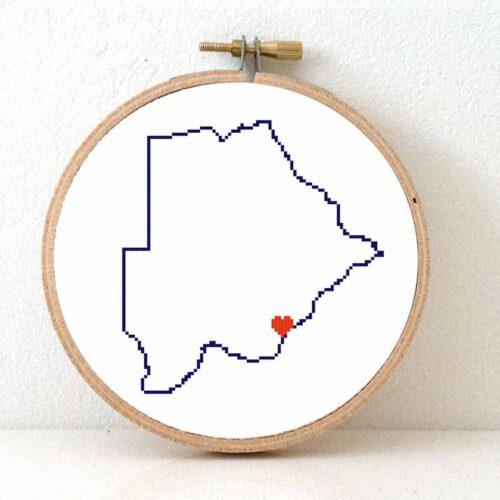 Botswana map cross stitch pattern