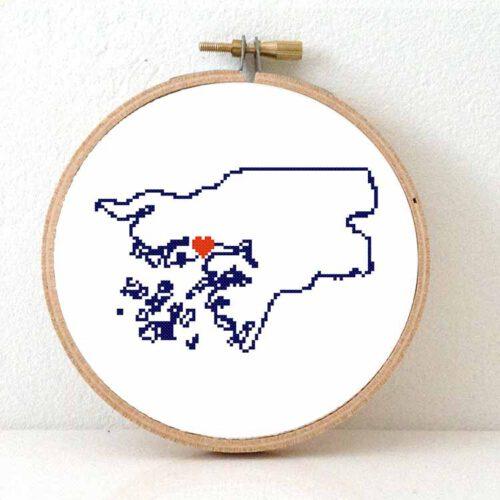 Guinea-Bissau map cross stitch pattern