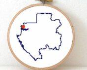 Gabon map cross stitch pattern