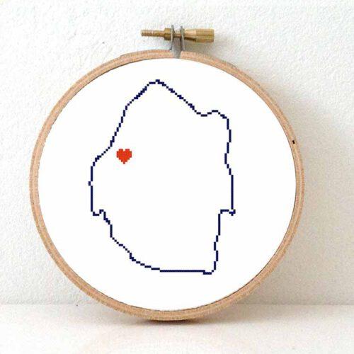 Estawini map cross stitch pattern