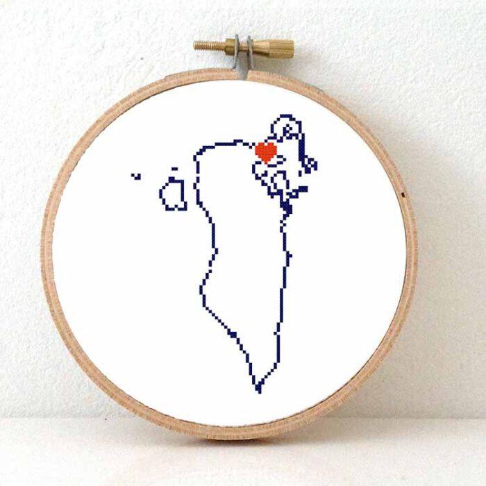 Bahrain map cross stitch pattern