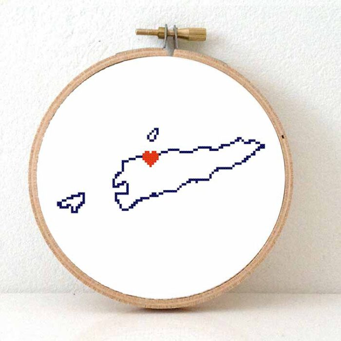 Timor-Leste map cross stitch pattern