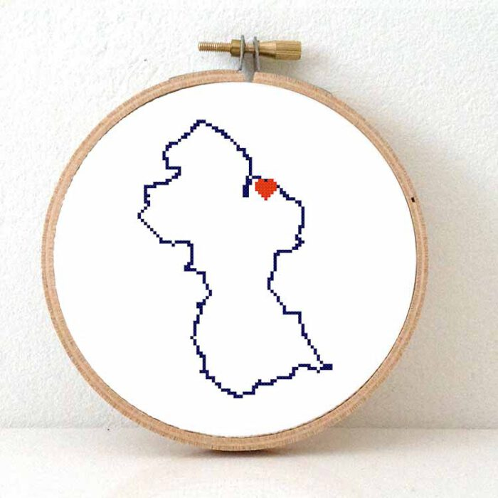 Quyana map cross stitch pattern