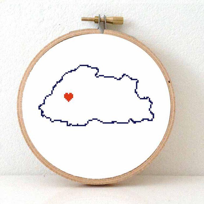 Bhutan map cross stitch pattern