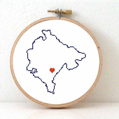 Montenegro map cross stitch pattern