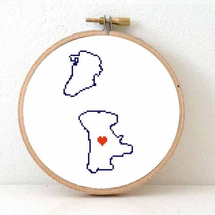 Macau map cross stitch pattern